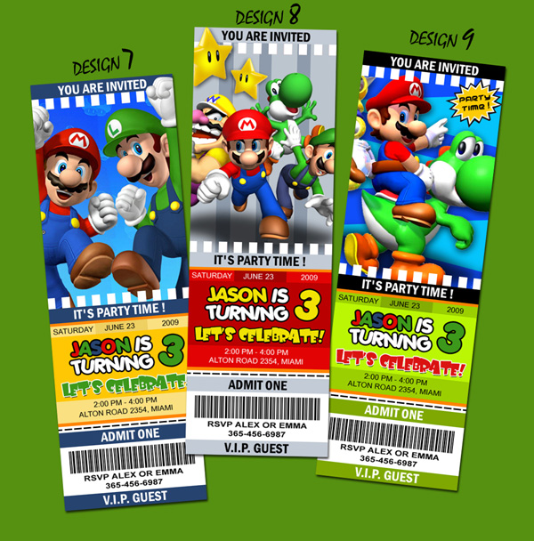 Unique Personalized Super Mario Brothers Ticket Style Birthday – Ticket Style Birthday Invitations