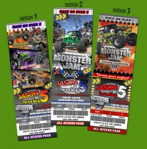 unique personalized monster truck jam party invitations, Party invitations