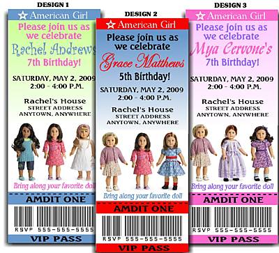 american girl doll ticket style invitation