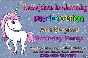 personalized unicorn party invitation