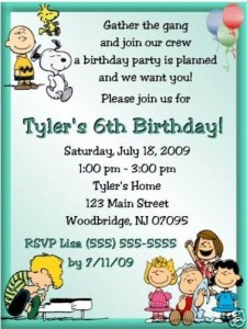 Snoopy invitations