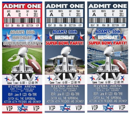 Superbowl XLV Party Invitations and Supplies – Super Bowl Party Invitations