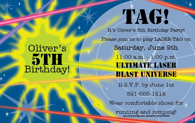 5 Very Cool Laser Tag Birthday Party Invitations – Laser Tag Party Invitations
