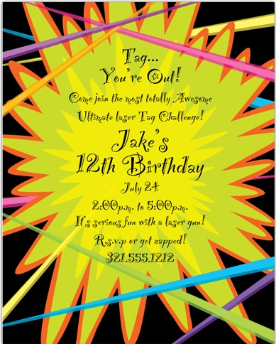 5 very cool laser tag birthday party invitations | thepartyanimal-blog, Party invitations