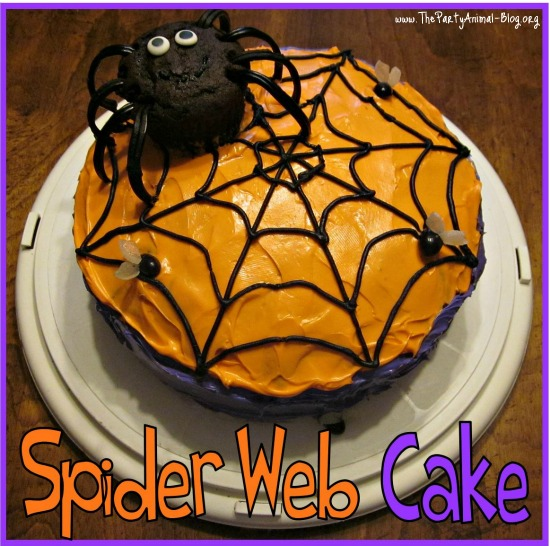 here is a fun easy halloween cake idea the kids will love this spider web cake with spider and edible flies is not only simple to make but it will look