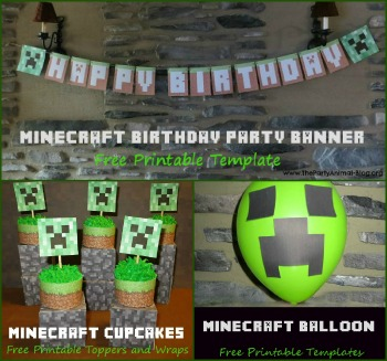printable minecraft party supplies
